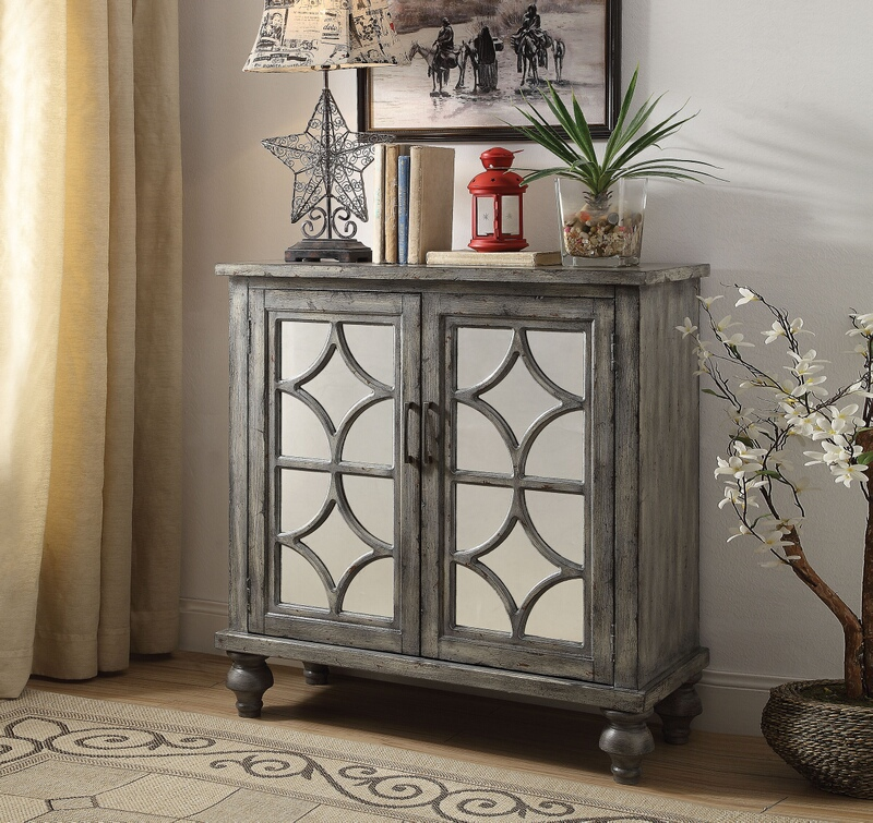 Acme 90284 Velika weathered gray finish wood mirror fronts hall console table