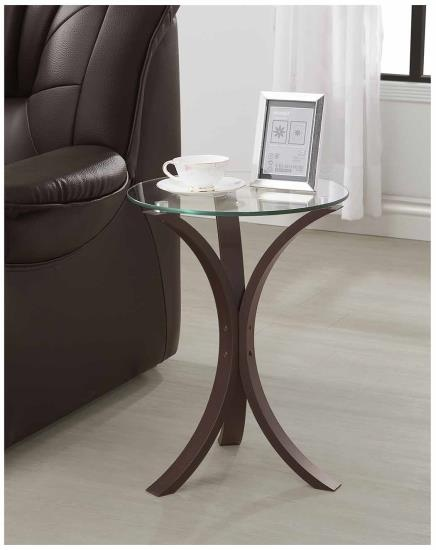 CST902867 Espresso finish wood with round glass top chair side end table