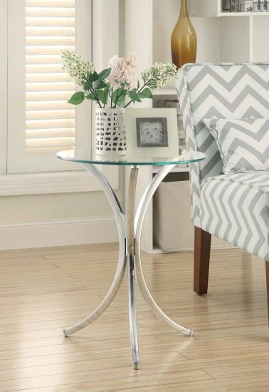 CST902869 Chrome metal finish chair side round end table with glass top