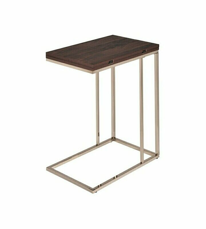 902932 Orren ellis wildon chestnut top and chocolate chrome finish legs snack chair side end table