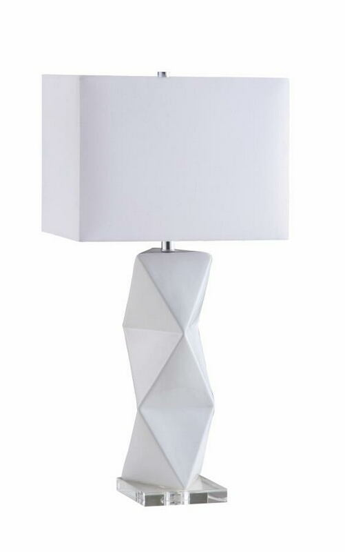 CST902937 White geometric ceramic base table lamp with white shade