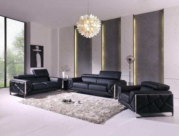 903BL-2PC 2 pc Orren ellis luigi black italian leather sofa and love seat set