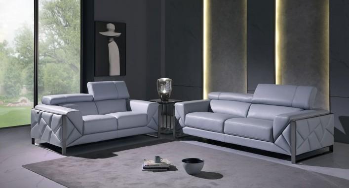 903LT-BLUE-2PC 2 pc Orren ellis luigi light blue italian leather sofa and love seat set