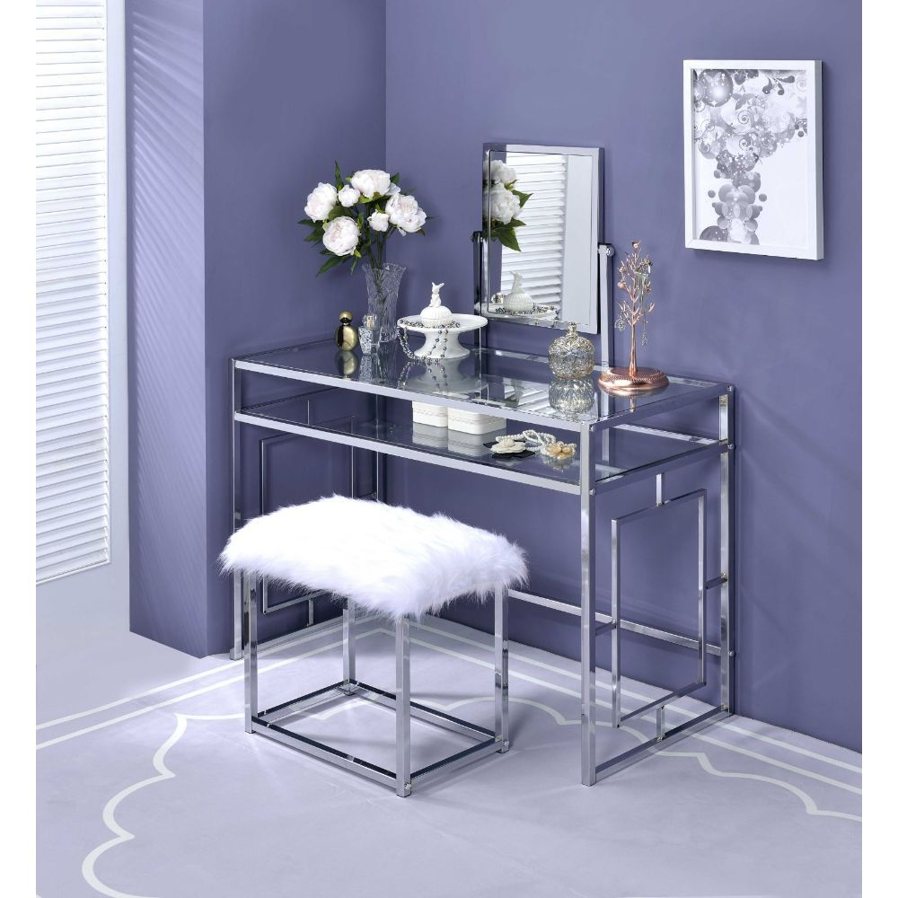 Acme 90314 3 pc Mercer 41 ballesteros carenze II clear glass and chrome frame vanity / desk set
