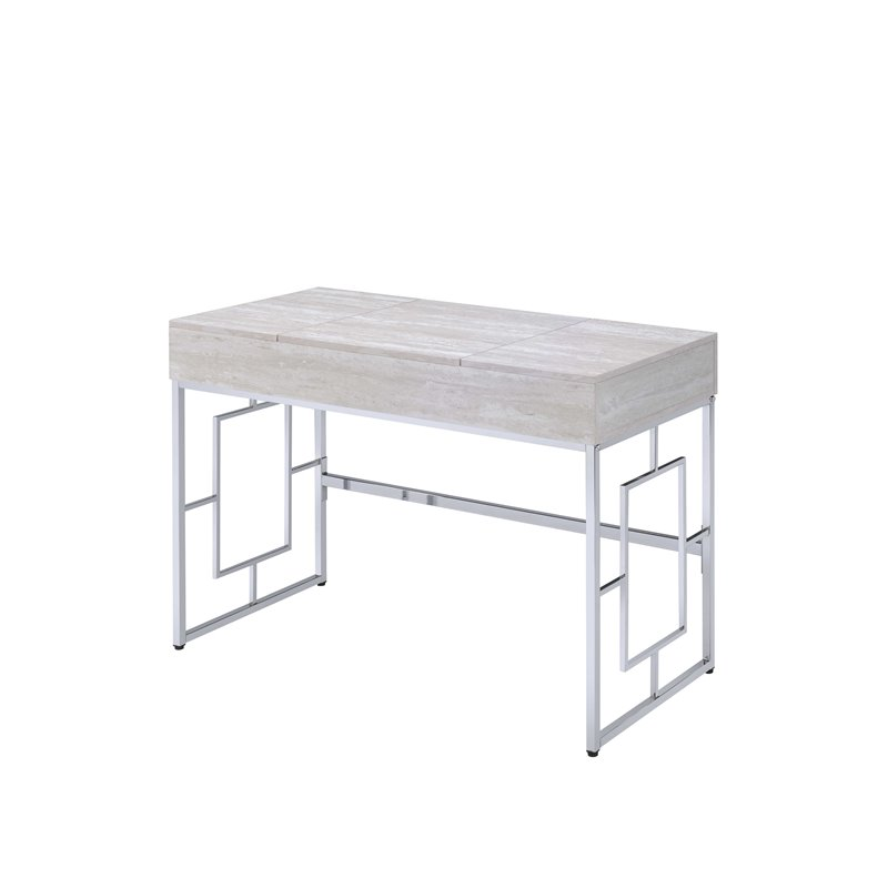 Acme 90315 Mercer 41 ballesteros saffron rustic white finish wood and silver frame vanity flip up mirror desk