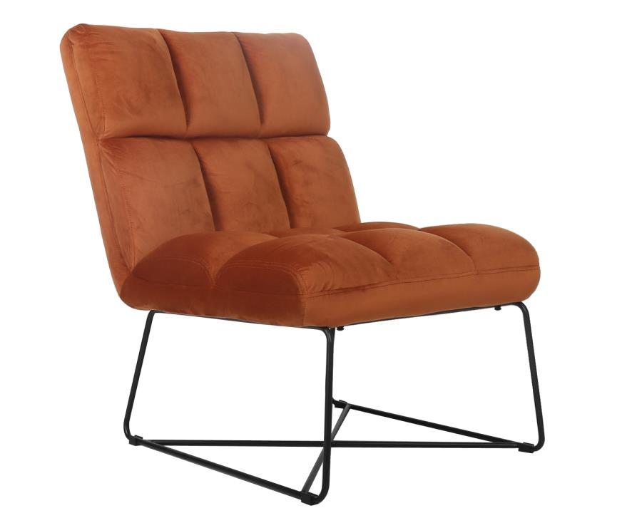903836 Ivy bronx comanche orange velvet overstuffed retro style accent chair