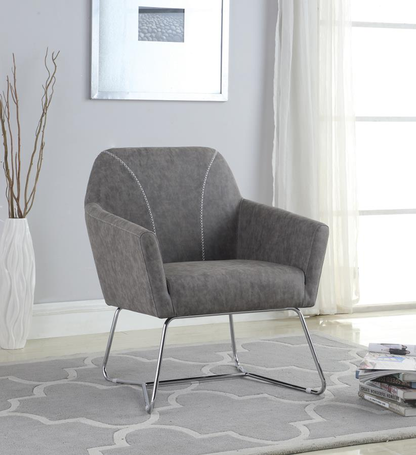 903850 Ivy bronx comanche grey leatherette chrome metal finish frame retro style accent chair
