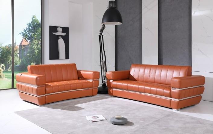 904CM-2PC 2 pc Orren ellis monza camel italian leather sofa and love seat set