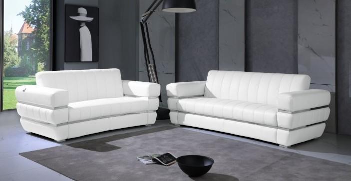 904WH-2PC 2 pc Orren ellis monza white italian leather sofa and love seat set