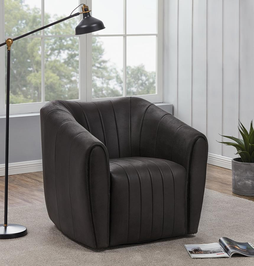 904123 Latitude run brown faux leather barrel shaped accent side chair with swivel base