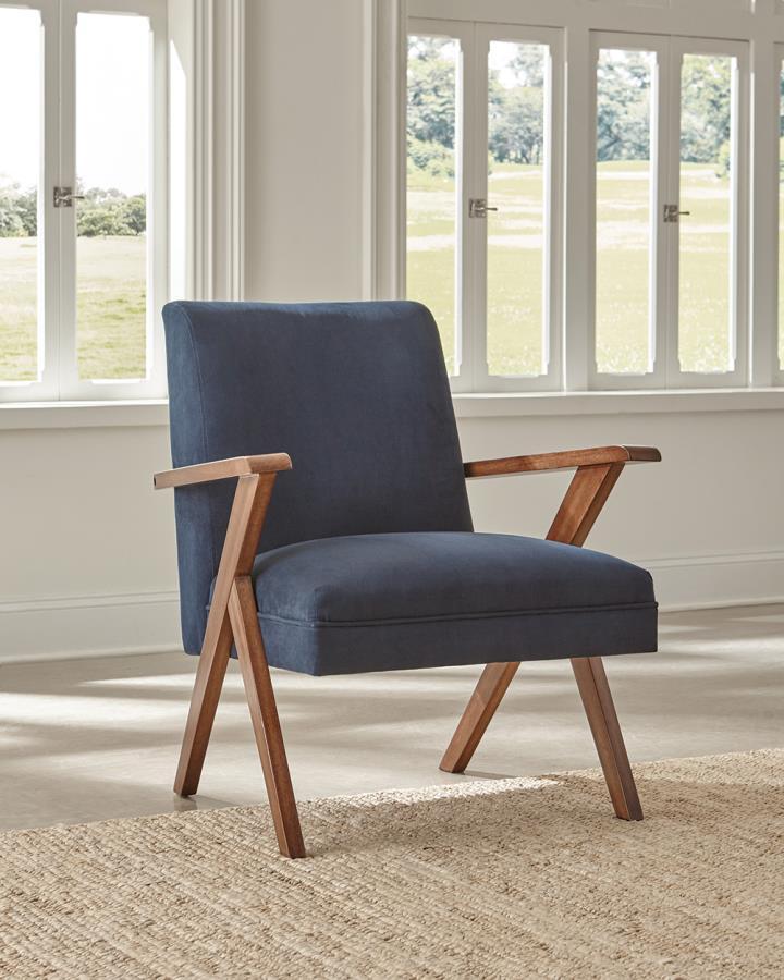 905415 Mercury row conkling walnut finish wood dark blue fabric mid century modern accent chair