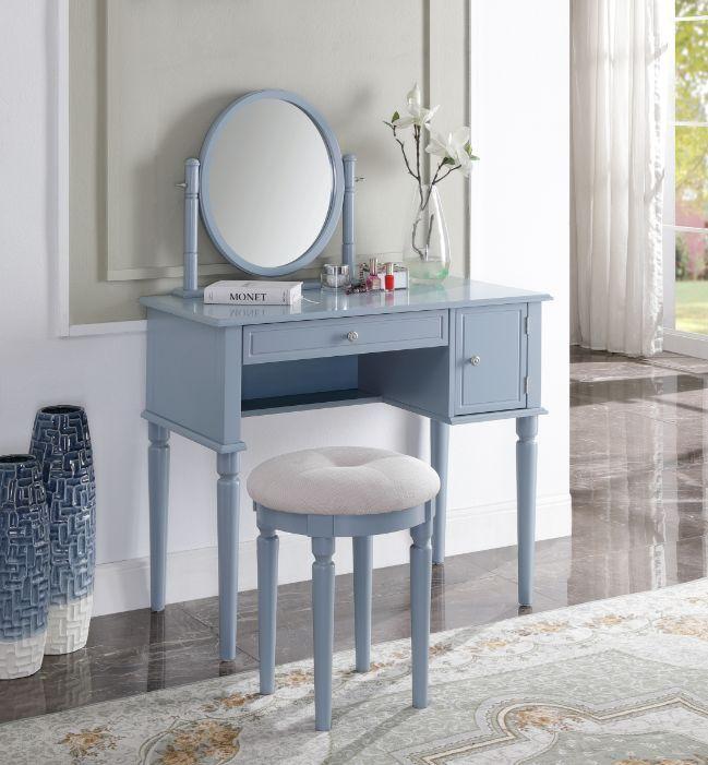 Acme 90610 3 pc Rabila gray finish wood bedroom make up dressing vanity set