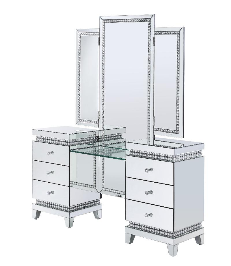 Acme 90805 2 pc Mercer 41 ballesteros lotus mirrored frame vanity / desk set with mirror