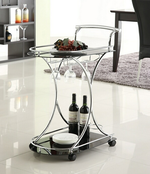 CST910001 Chrome finish metal and Black glass shelves tea serving cart with casters and wine glass holders