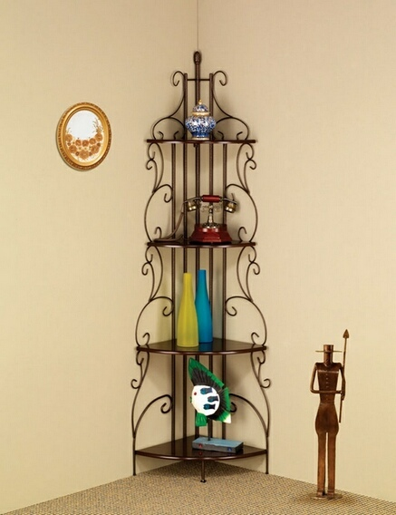 CST910038 4 tier scrolled back design goldish copper finish metal corner wall shelf unit
