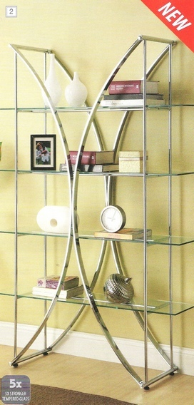 910050 Chrome metal finish x design shelf unit with glass shelves