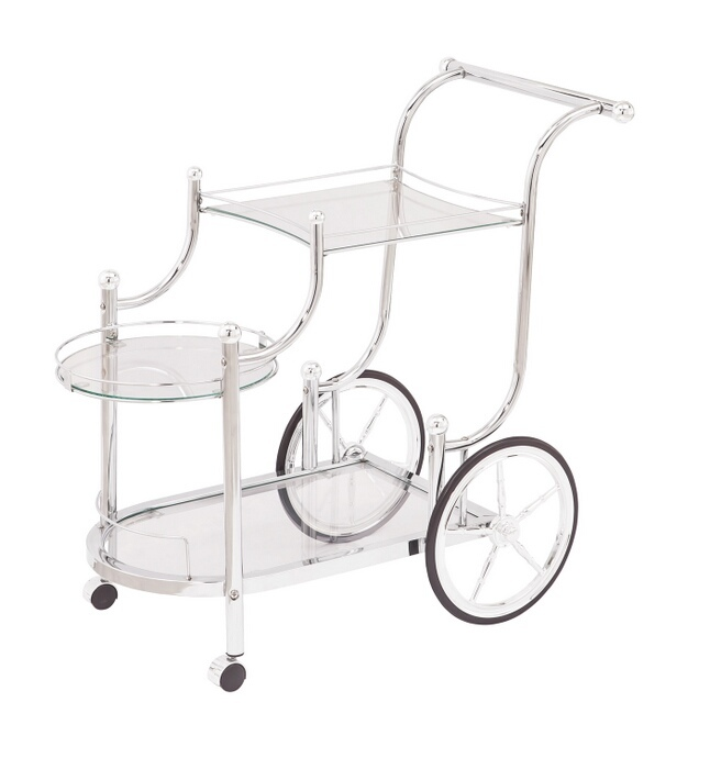 CST910076 Chrome frame and tempered glass shelves tea serving cart with casters and large back wheels