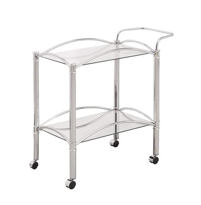 CST910077 Chrome small rectangular frame and tempered glass shelves tea serving cart with casters