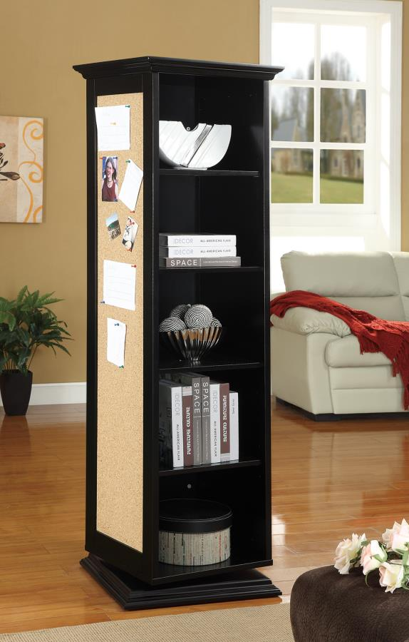 910083 Wildon home black finish wood rotating storage cabinet with large cork board and dressing mirror with open shelves