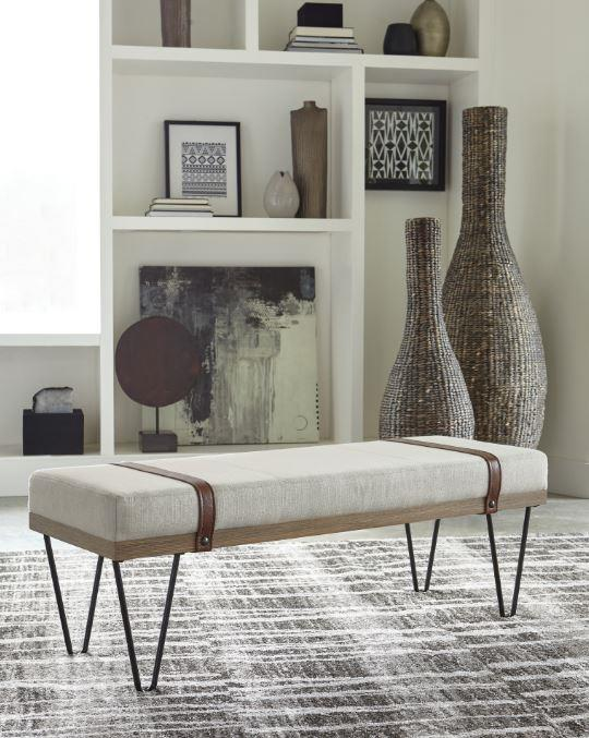 910240 Beige linen like fabric black legs mid century modern bedroom entry bench