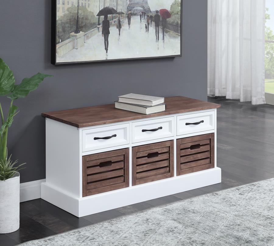 911196 Orren elllis hawksbill weathered brown and white finish wood ottoman boot bench with drawers
