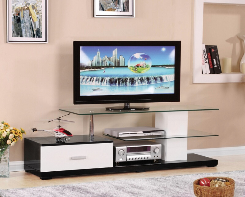 "Acme 91140 Latitude run onamia ivana white and black finish wood 63"" tv stand glass top and shelves"