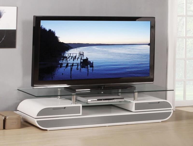Acme 91142 Orren ellis aled lainey white / gray finish wood tv media stand console