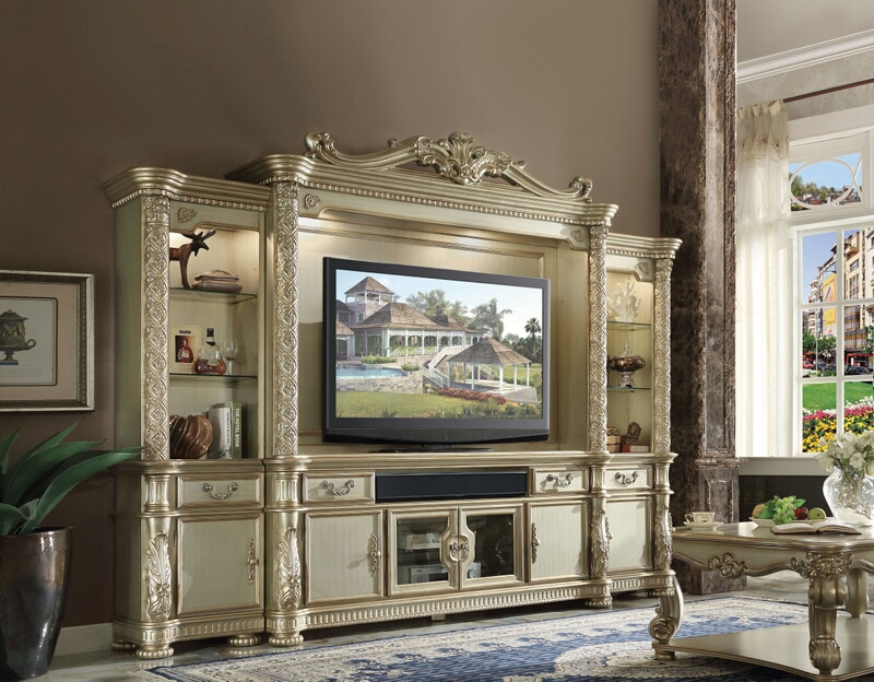 Acme 91310 13 4 Pc Vendome Ii Bone White And Gold Patina Finish Wood Entertainment Center Wall Unit