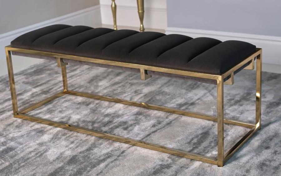 914111 Everly quinn caulksville dark grey velvet ottoman bench with gold frame