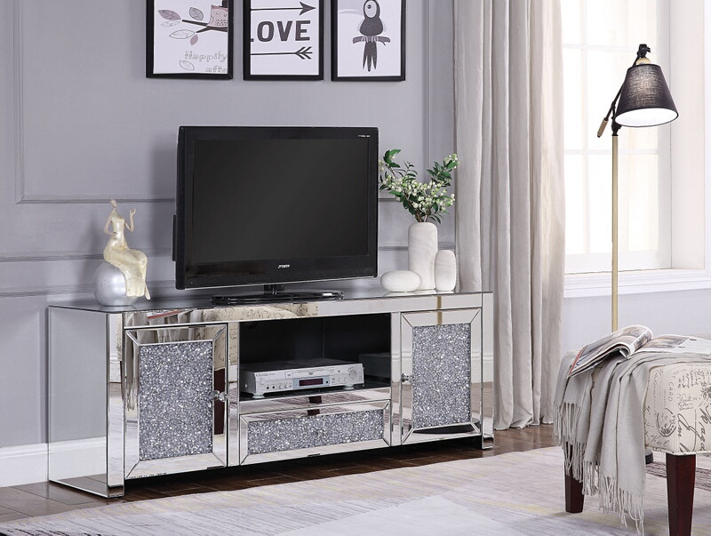 """Acme 91450 Everly quinn albaugh noralie mirrored top 59"""" TV stand with faux diamond inlay"""
