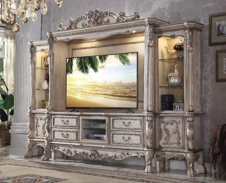 Acme 91470-73 4 pc Astoria grand welliver dresden vintage bone finish wood entertainment center wall unit