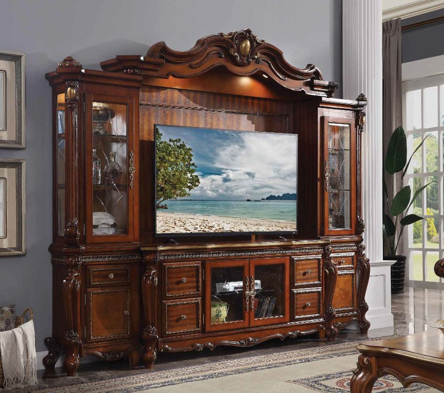 Acme 91520 4 pc Astoria grand roza picardy cherry oak finish wood entertainment center wall unit