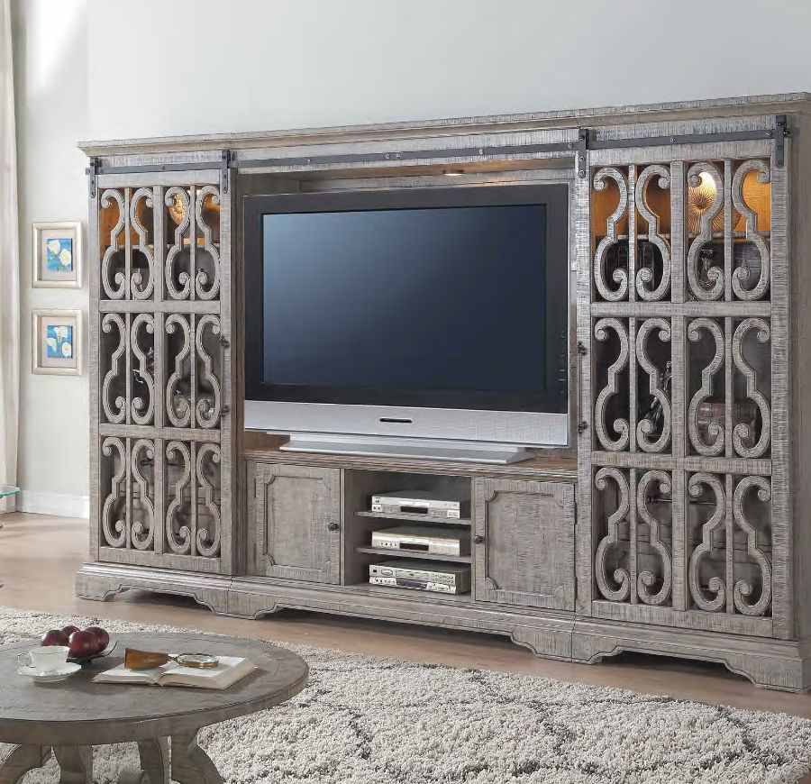 Acme 91760-65 4 pc One allium way deshawn artesia salvaged natural finish wood entertainment center wall unit