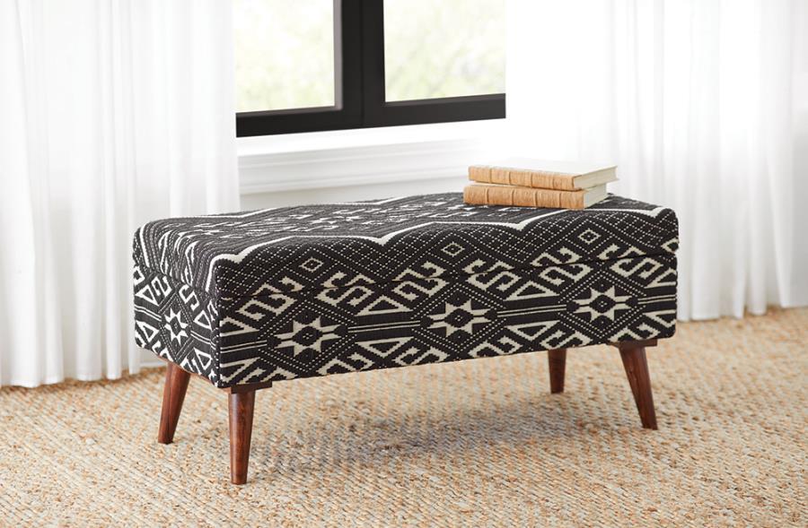 918490 Carbon loft kaia black/white fabric bedroom ottoman entry bench