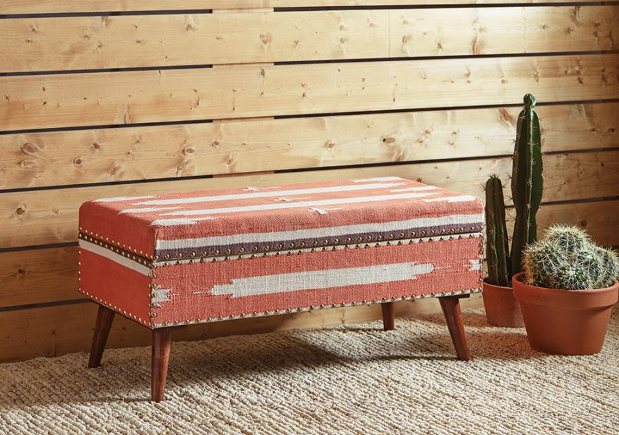 918491 Carbon loft kaia orange/beige fabric bedroom ottoman entry bench