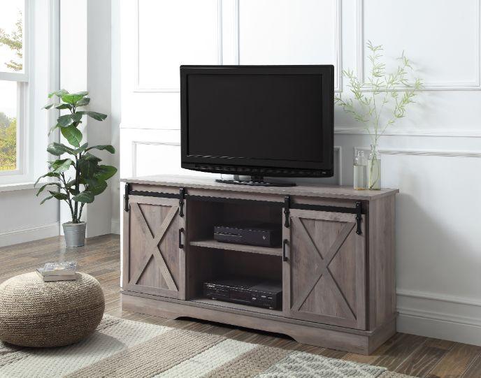 Acme 91855 Bellarosa grey finish wood farmhouse style sliding barn door TV stand