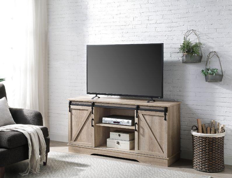 Acme 91857 Bellarosa oak finish wood farmhouse style sliding barn door TV stand
