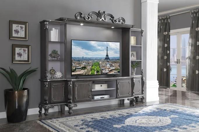 Acme 91985 4 pc House Delphine charcoal finish wood entertainment center wall unit