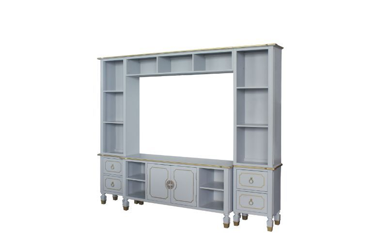 Acme 91990-93 4 pc Canora grey delphine pearl grey finish wood gold accents entertainment center wall unit