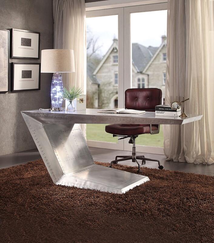 Acme 92025 Brancaster aluminum metal frame with riveted design executive desk