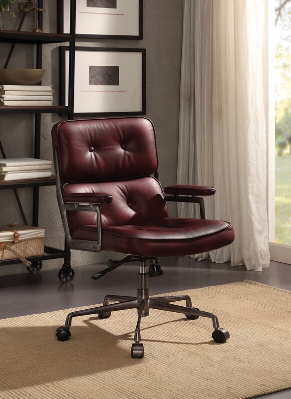 Acme 92027 Larisa Vintage Merlot Top Grain Leather Executive Office Chair With Casters
