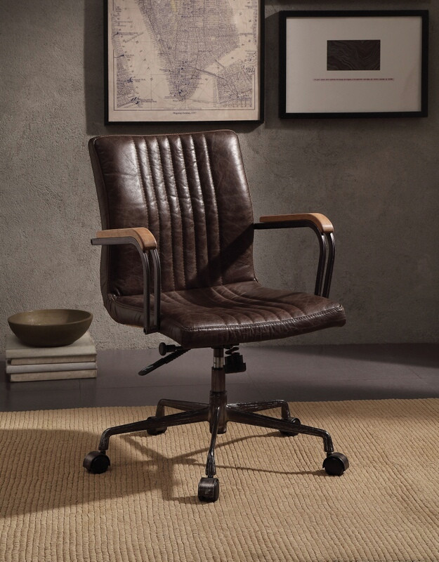 Stupendous Acme 92028 Joslin Distress Chocolate Top Grain Leather Executive Office Chair With Casters Ncnpc Chair Design For Home Ncnpcorg