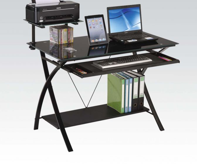 Acme 92078 Symple stuff leaman erma black finish metal and glass computer student work desk