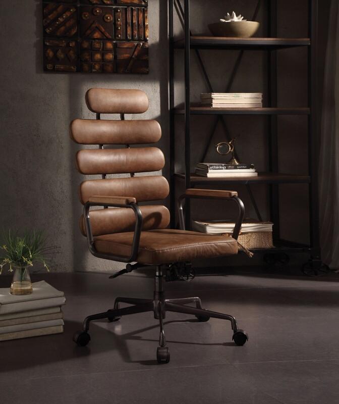 Acme 92108 Corrigan studio ezequiel light brown top grain leather high back office chair with casters