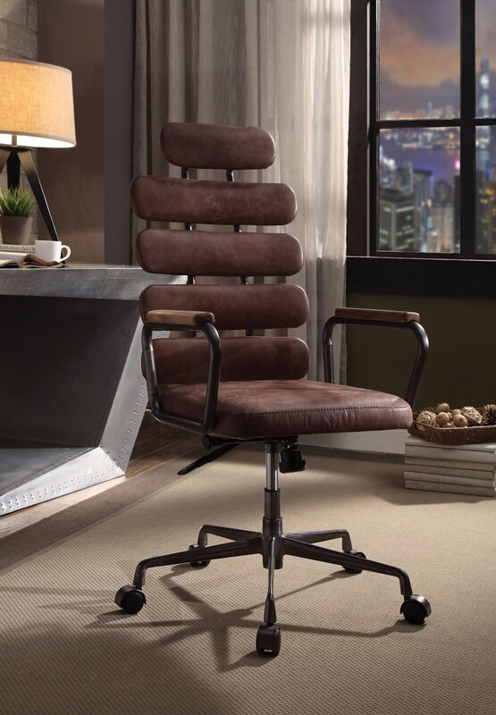 Acme 92110 Corrigan studio ezequiel brown top grain leather high back office chair with casters