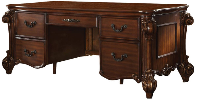 ACM92125 Vendome collection cherry finish wood detailed carvings ornate office desk with claw feet design