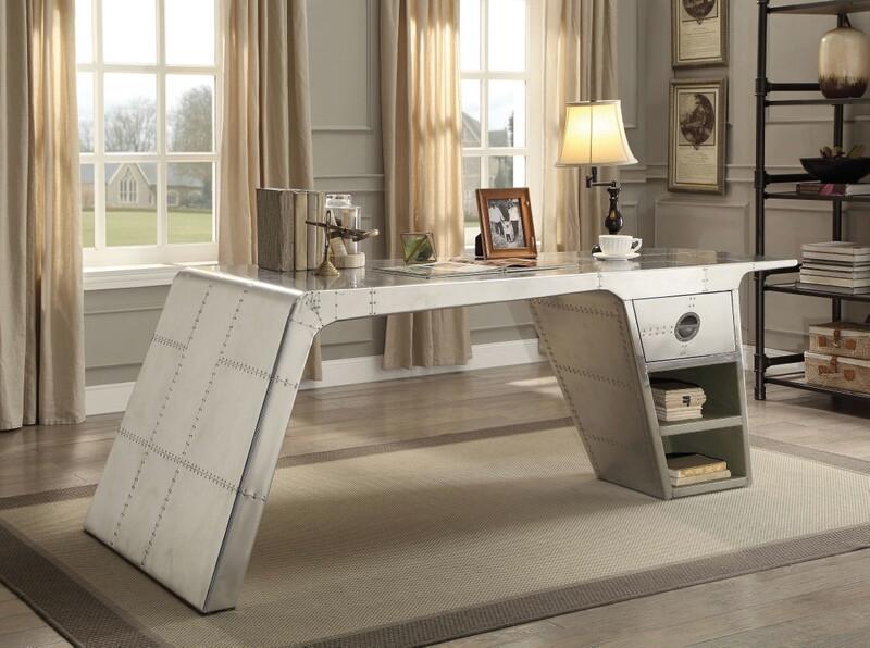 Acme 92190 Brancaster aluminum metal frame with riveted design executive desk