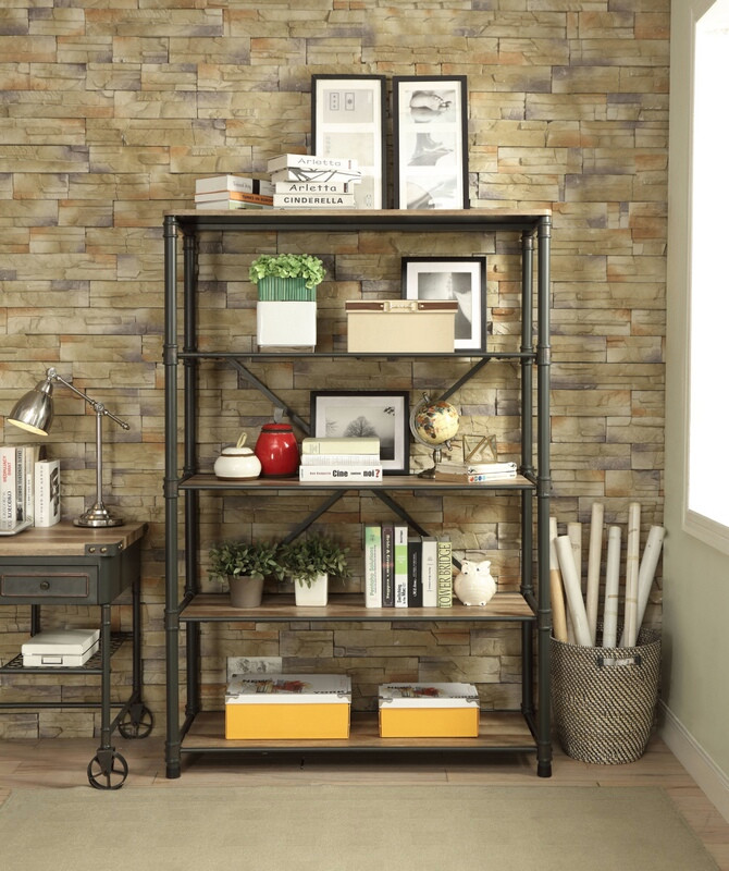 Acme 92200 Itzel antique oak finish wood sandy black metal 5 tier book case shelf unit