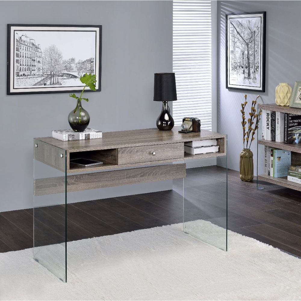 Acme 92372 Mercer 41 ballesteros armon weathered grey oak and glass frame desk