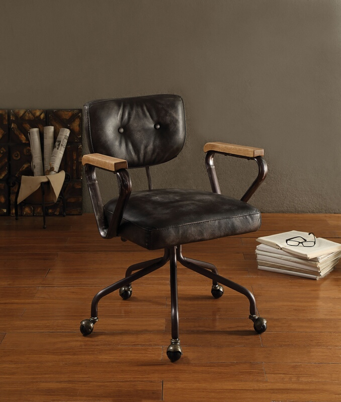 top grain leather office chairs gray leather acme 92411 hallie vintage black top grain leather office chair with casters